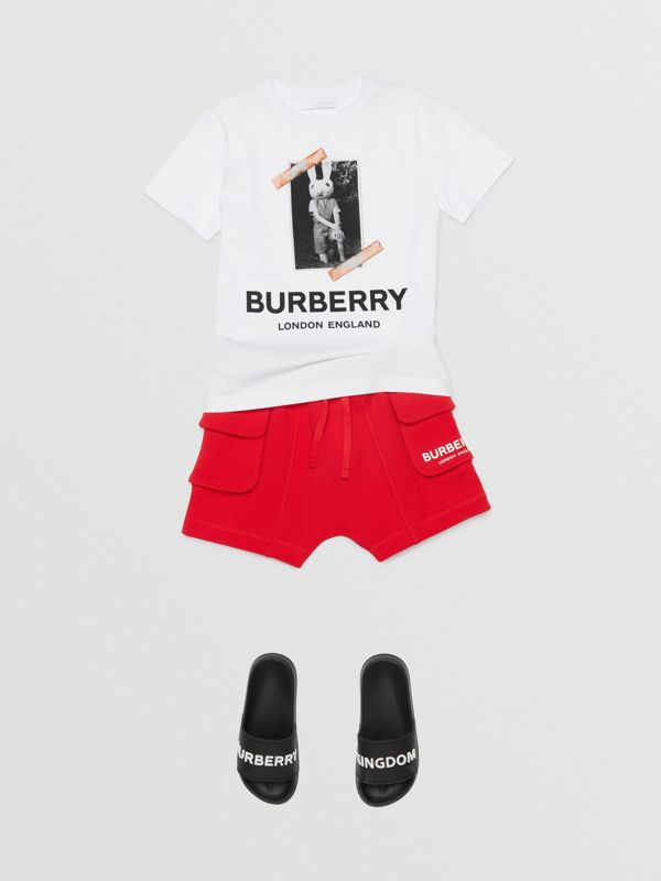 Logo Print Cotton Drawcord Shorts in Bright Red | Burberry - cell image 2
