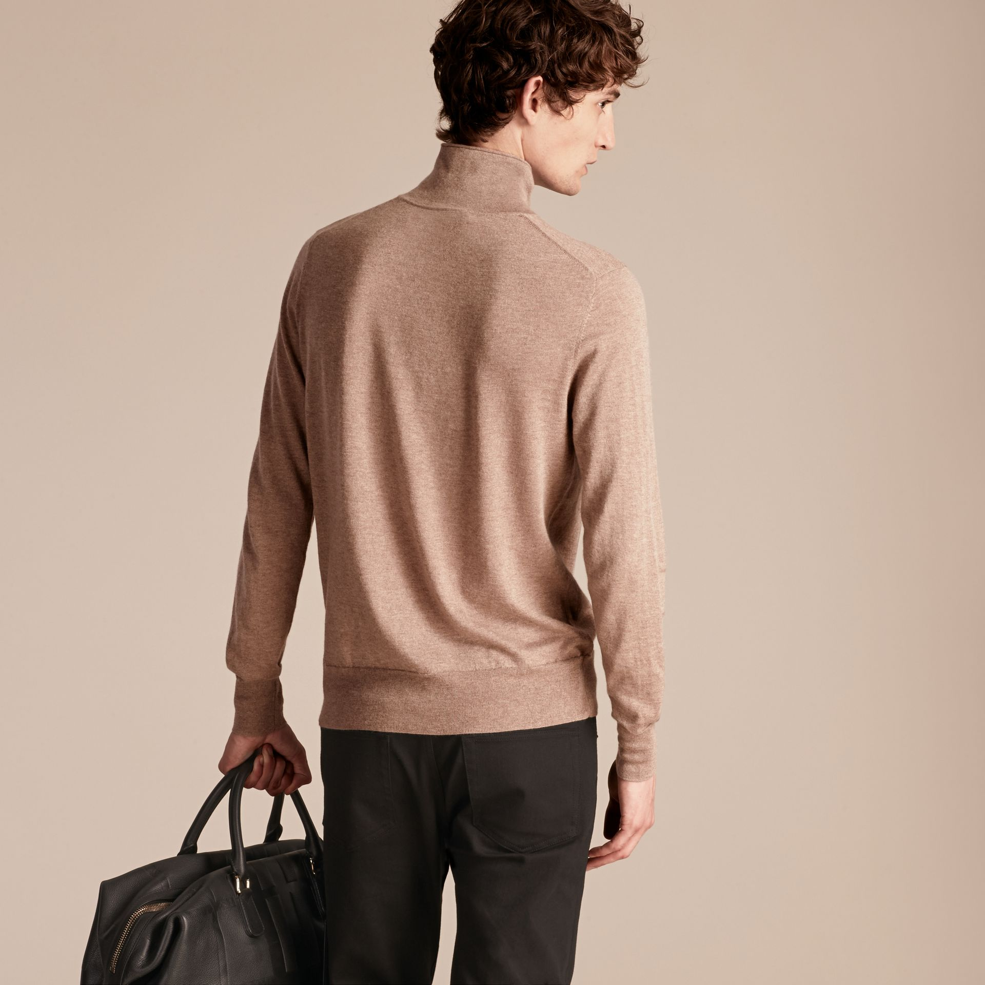 Stone Funnel Neck Cashmere Silk Sweater - gallery image 3