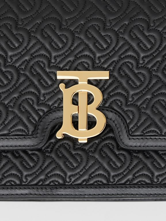 Medium Quilted Monogram Lambskin TB Bag in Black - Women | Burberry - cell image 1