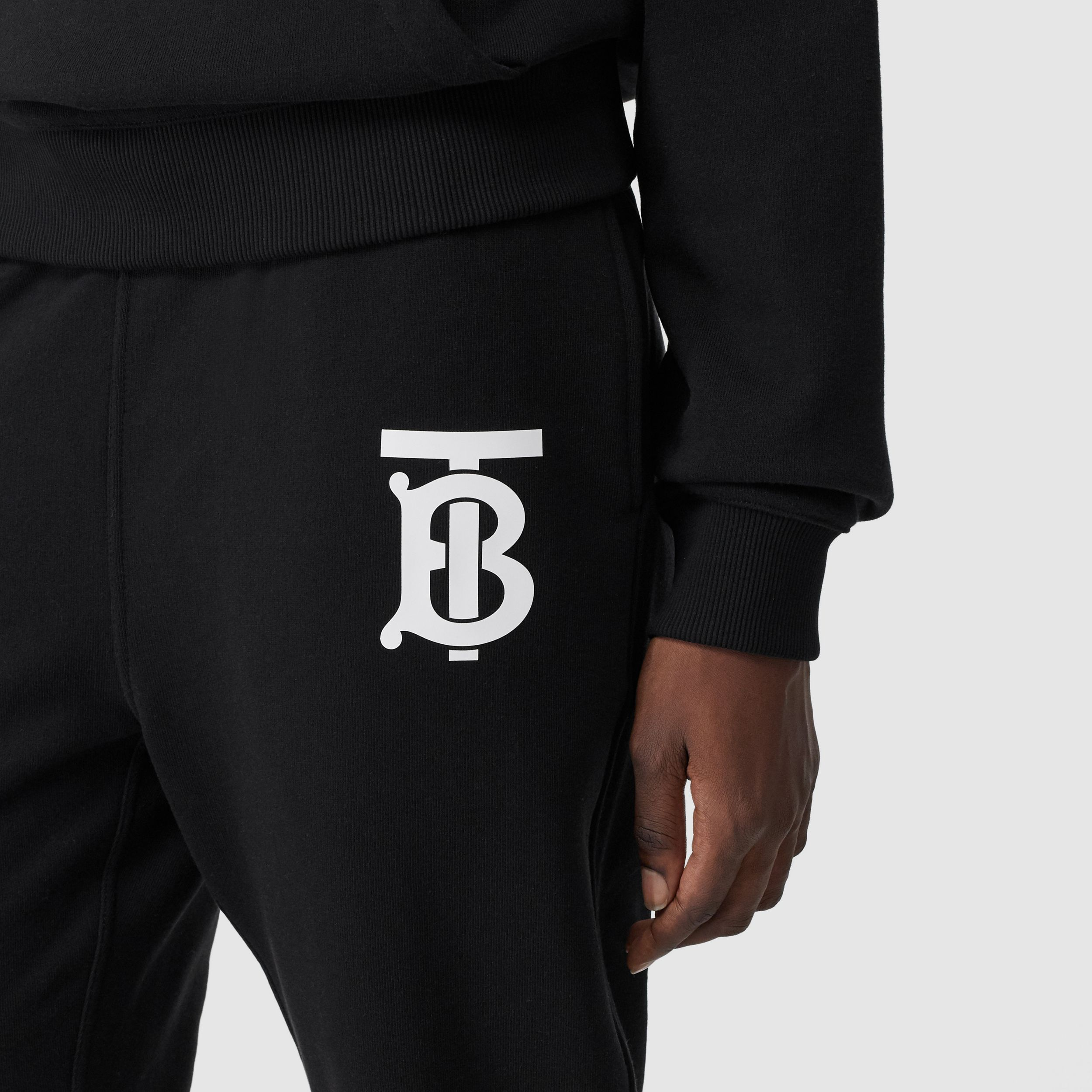 Monogram Motif Cotton Jogging Pants in Black - Women | Burberry - 2