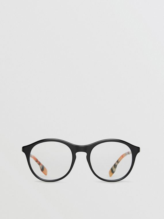 Vintage Check Detail Round Optical Frames in Black