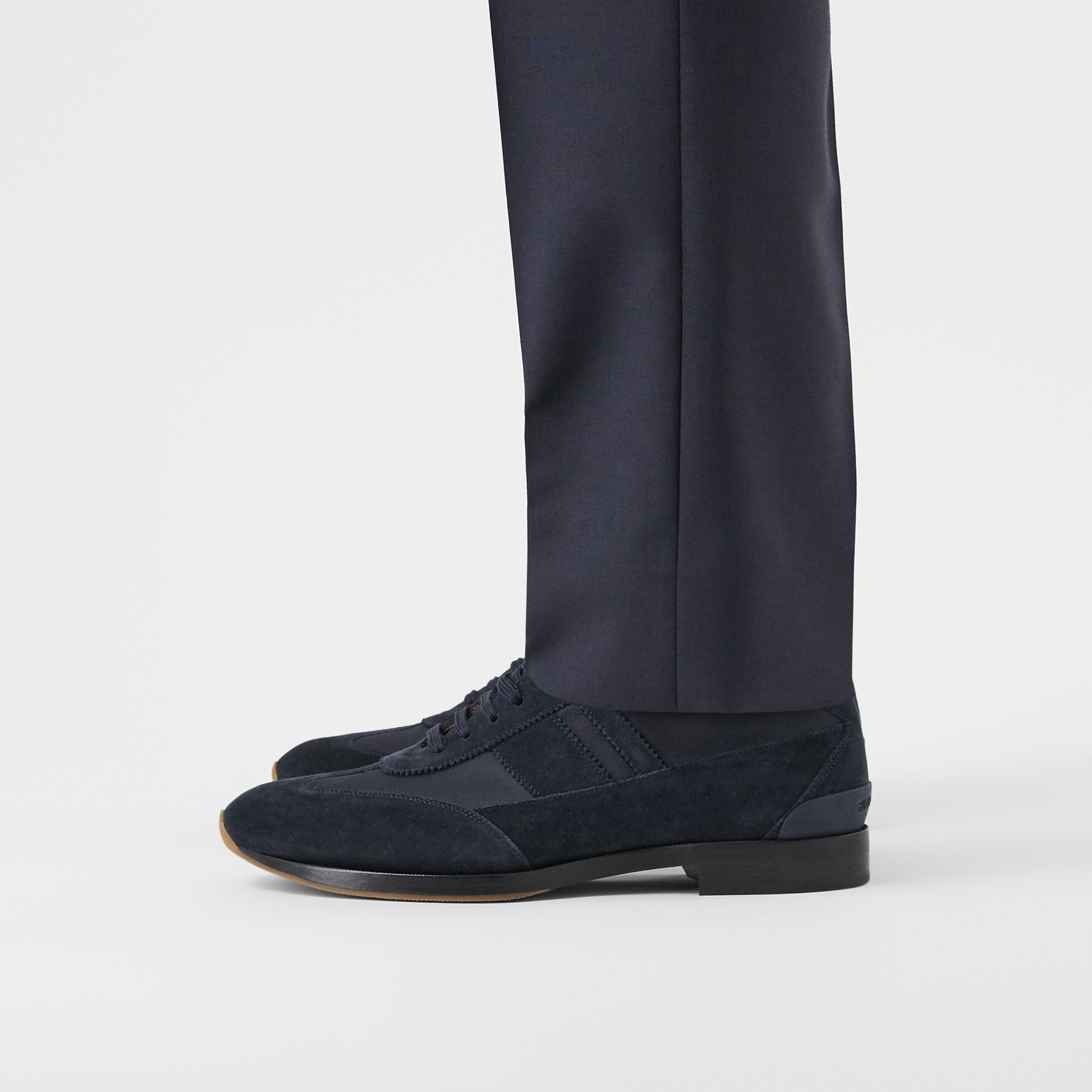 Neoprene Panel Suede Lace-up Shoes in Navy | Burberry - 3