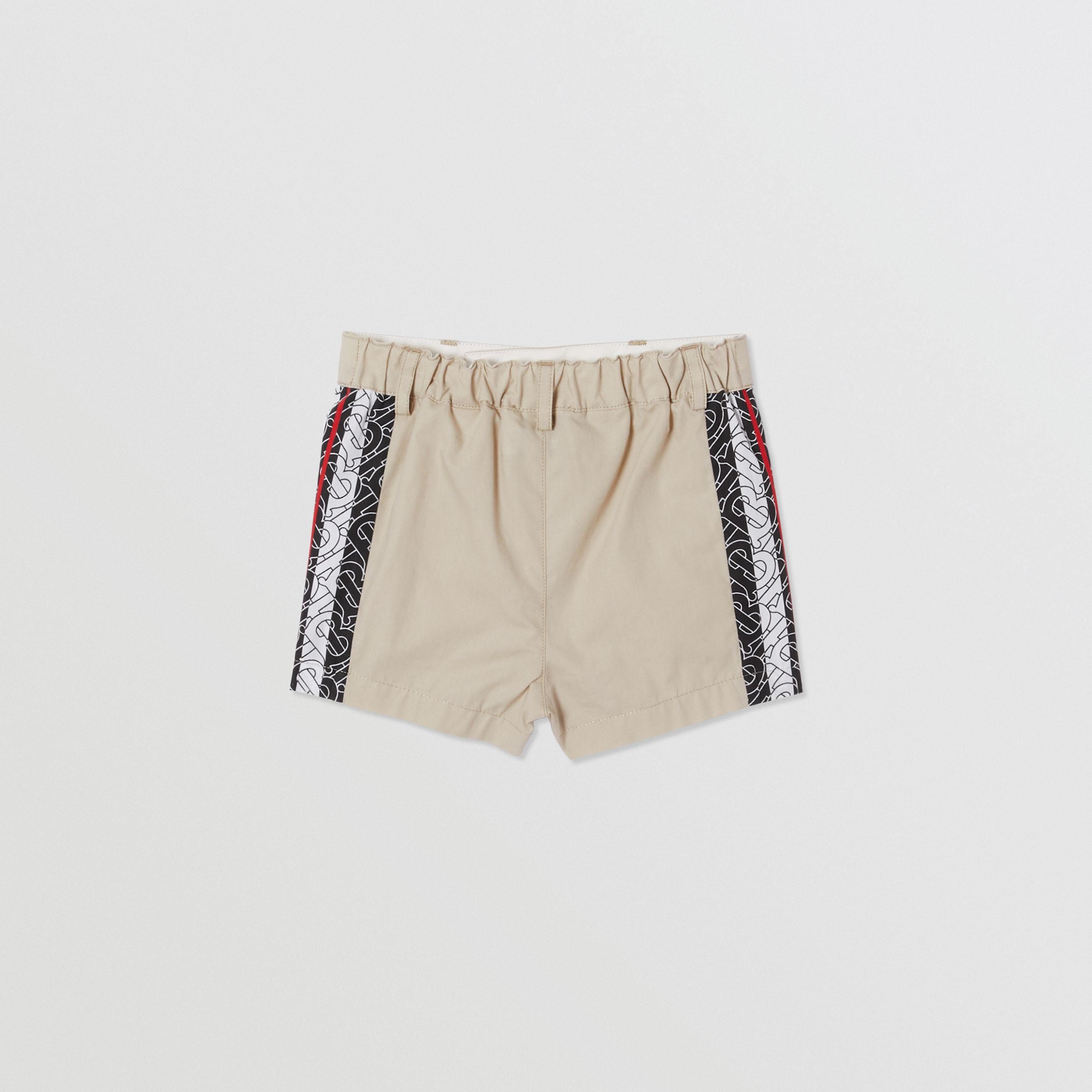 Monogram Stripe Print Cotton Tailored Shorts in Stone - Children | Burberry - 4
