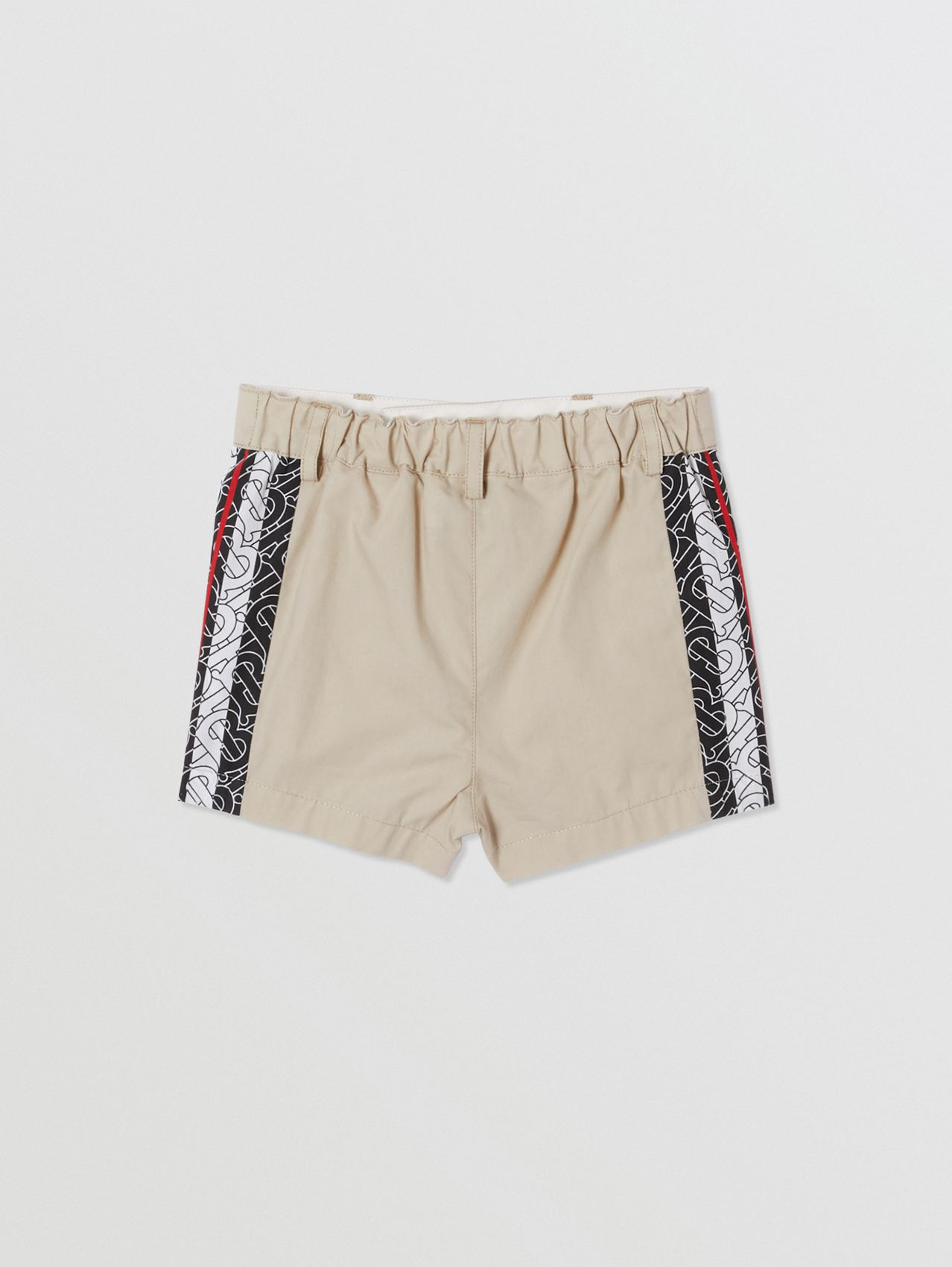 Monogram Stripe Print Cotton Tailored Shorts in Stone
