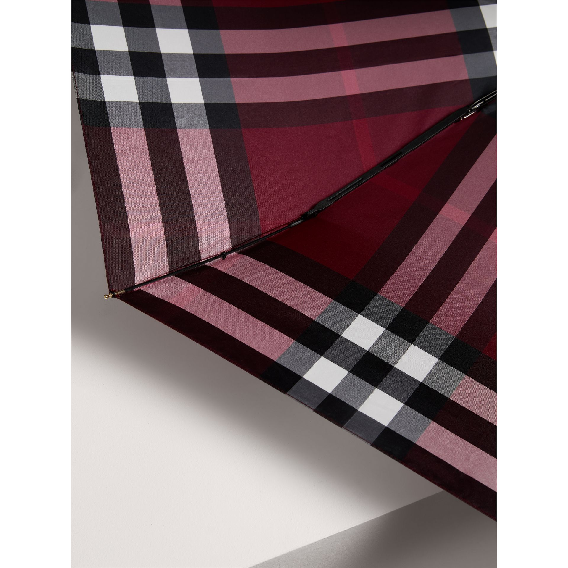 Check Folding Umbrella in Plum | Burberry - gallery image 2