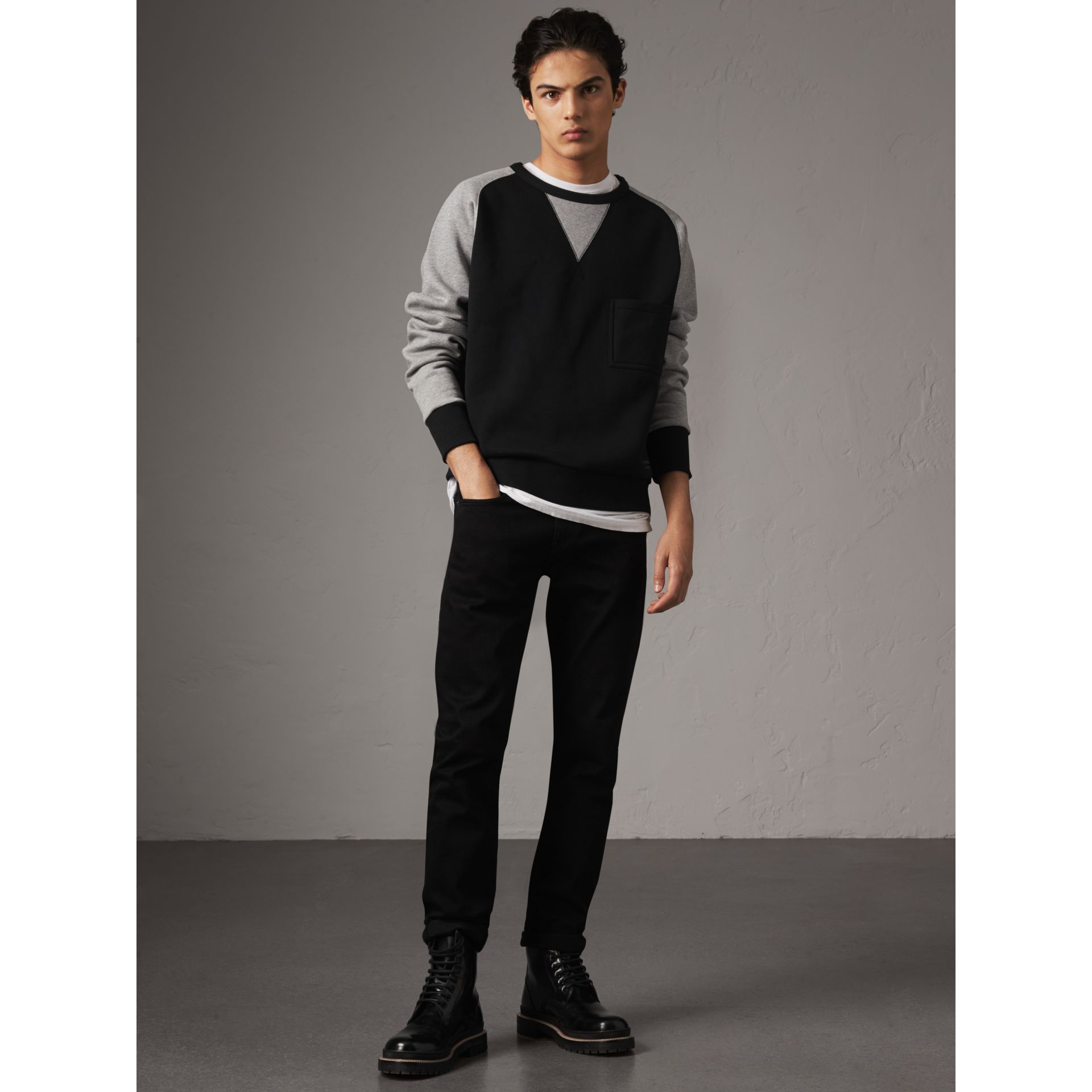 Two-tone Cotton Blend Sweatshirt in Black - Men | Burberry - gallery image 5
