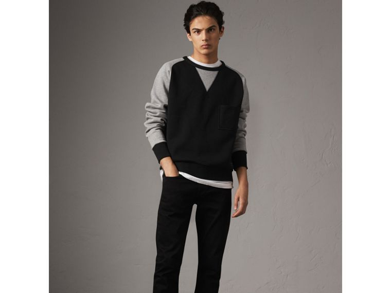 Two-tone Cotton Blend Sweatshirt in Black - Men | Burberry United States - cell image 4