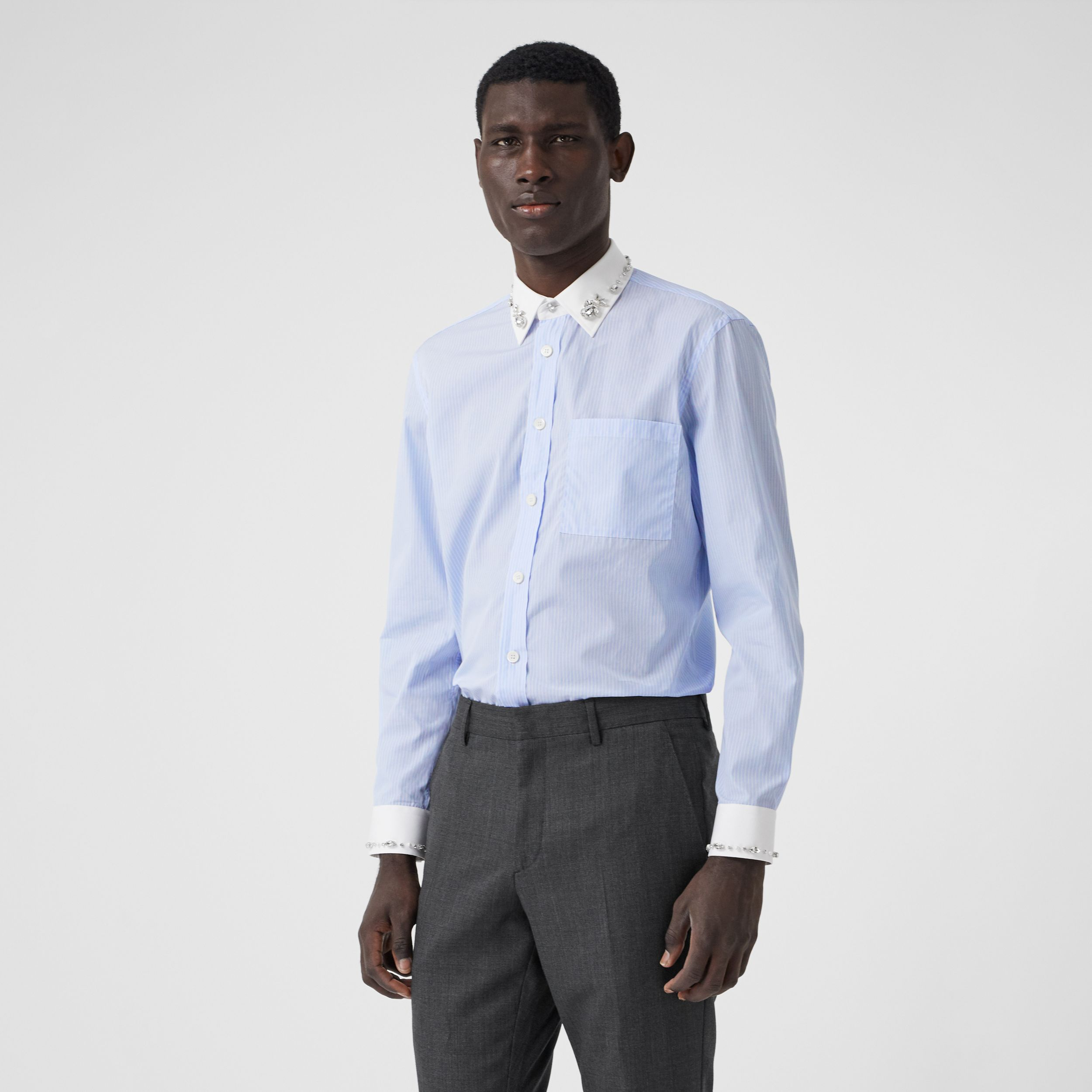 Classic Fit Embellished Pinstriped Cotton Shirt in Pale Blue - Men | Burberry - 1
