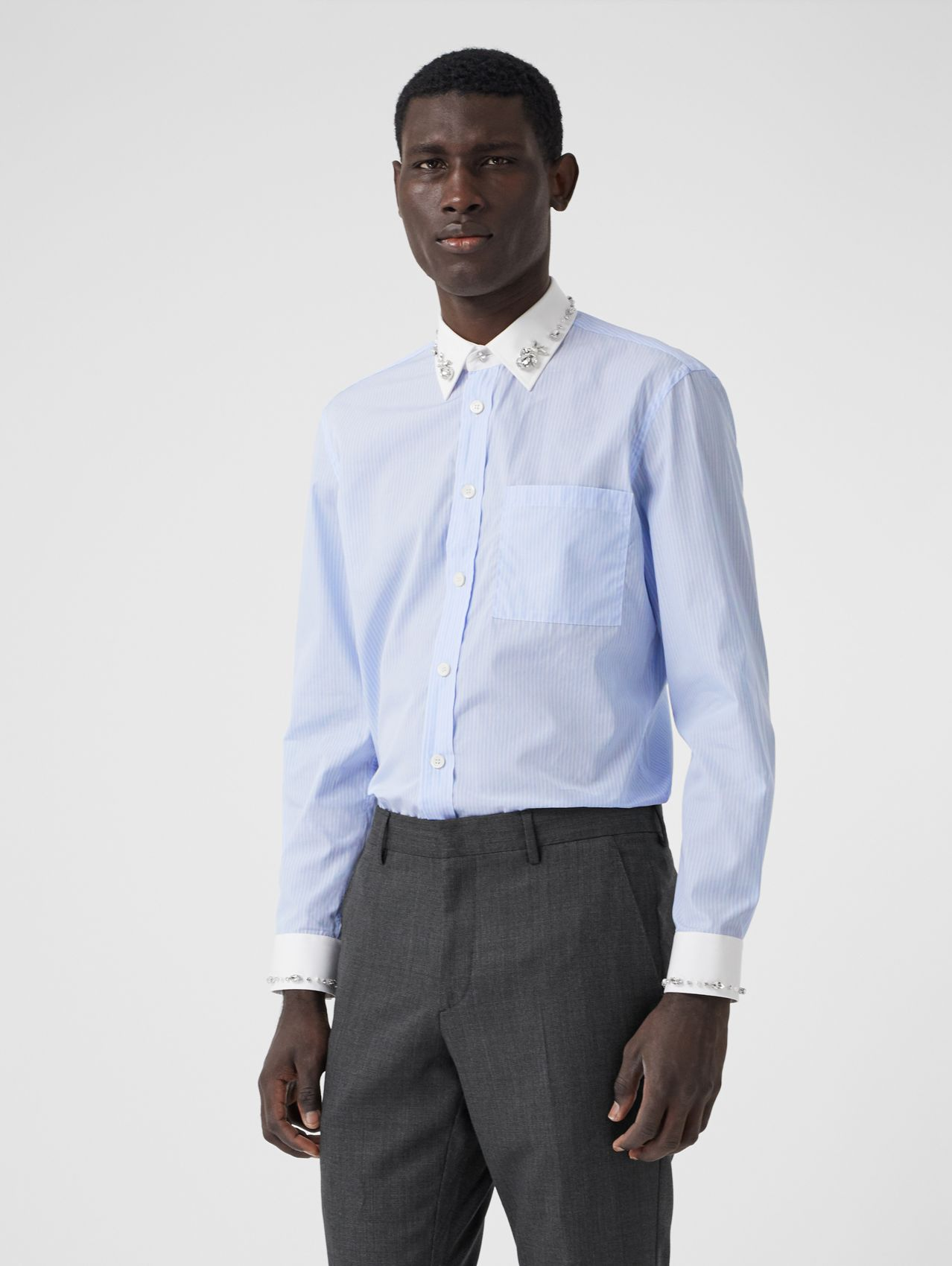 Classic Fit Embellished Pinstriped Cotton Shirt (Pale Blue)