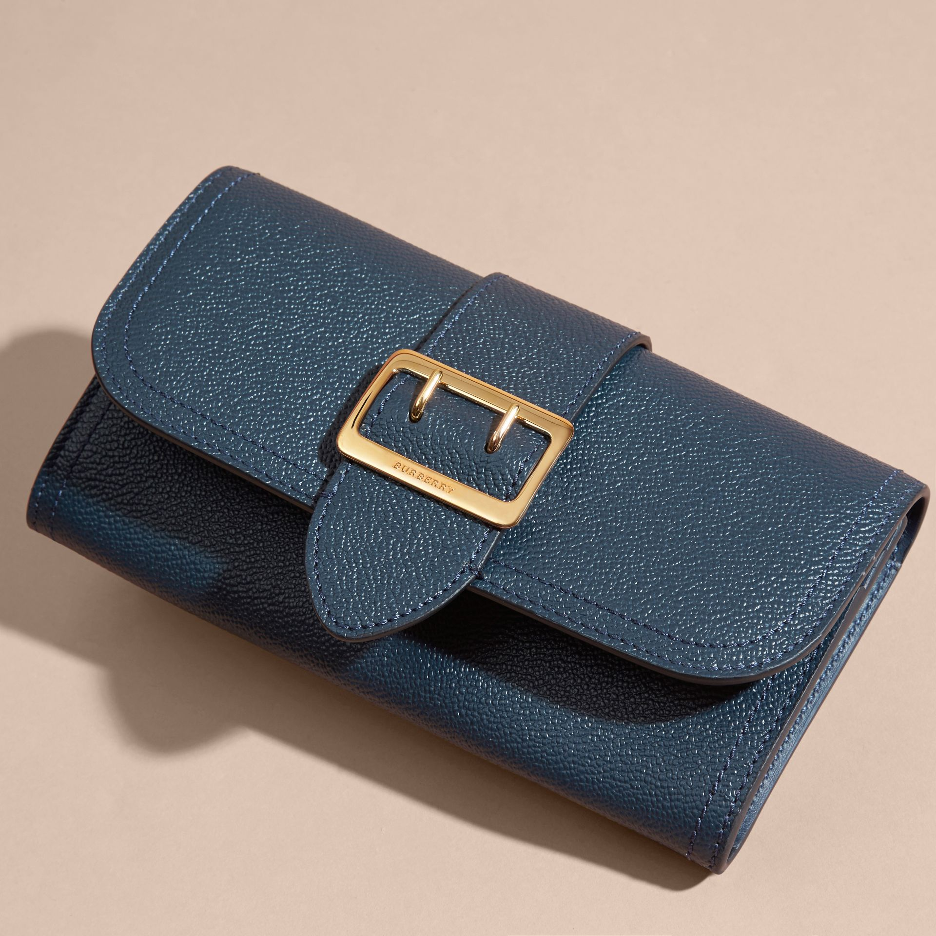 Textured Leather Continental Wallet in Blue Carbon - Women | Burberry - gallery image 6