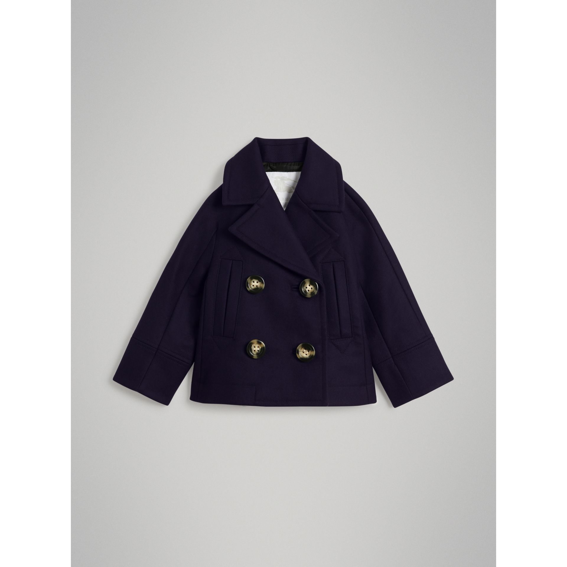 Short Wool Pea Coat in Navy - Girl | Burberry - gallery image 0