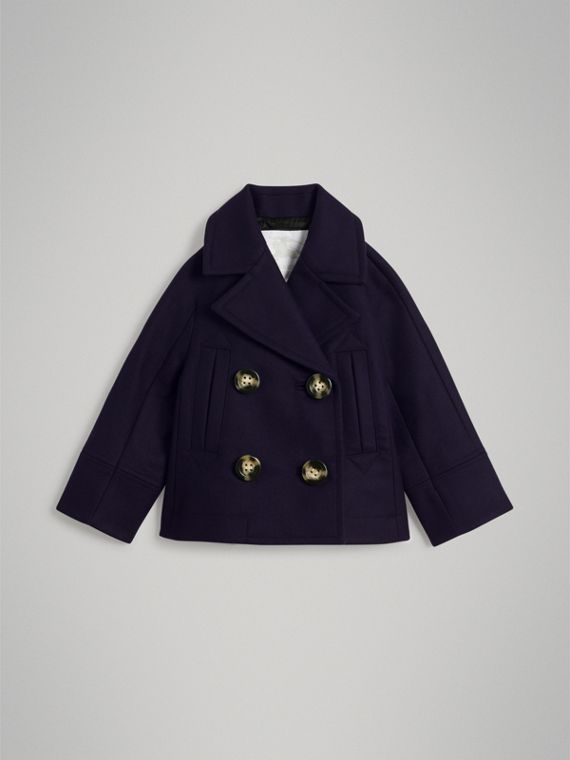 Short Wool Pea Coat in Navy