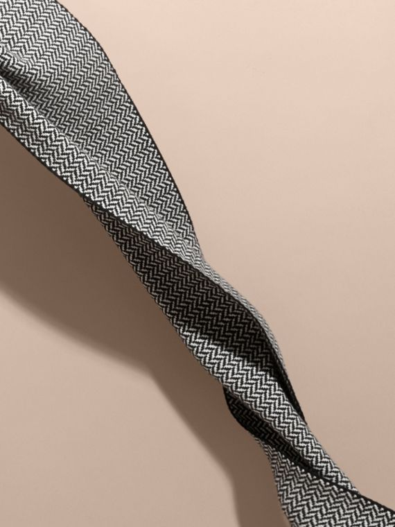 Black/white Chunky Herringbone Wool Cashmere Scarf - cell image 3