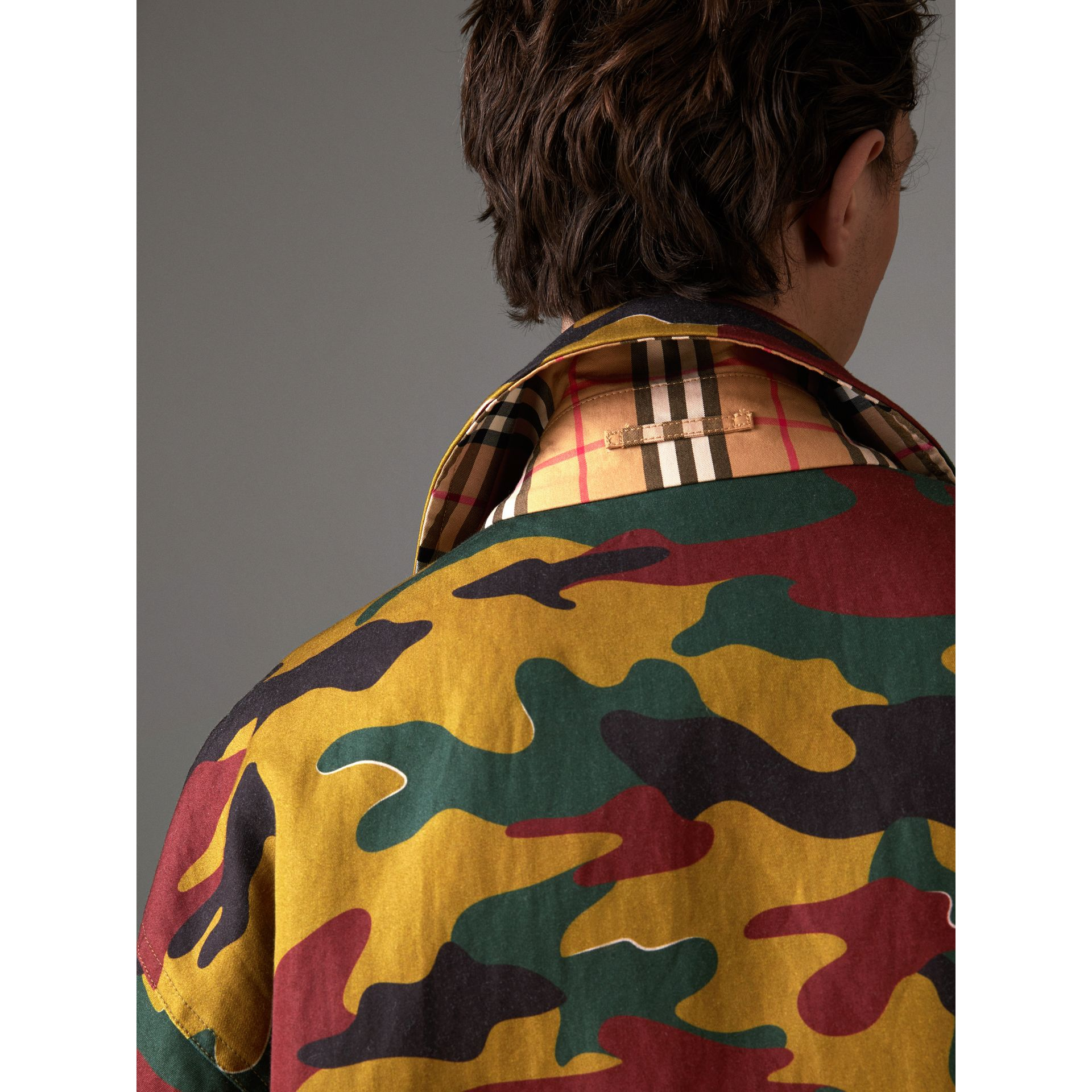 Ramie-cotton Reversible Harrington Jacket in Green Ochre | Burberry - gallery image 1