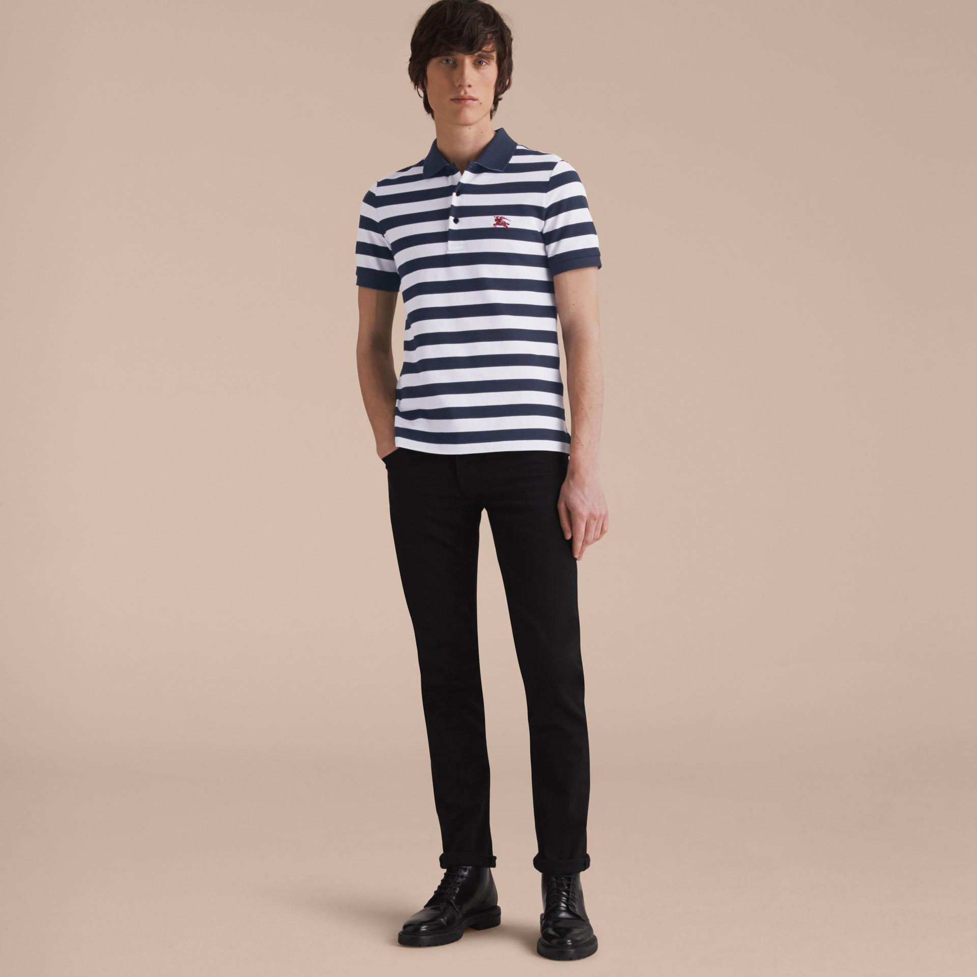 Striped Cotton Polo Shirt White/navy - gallery image 6