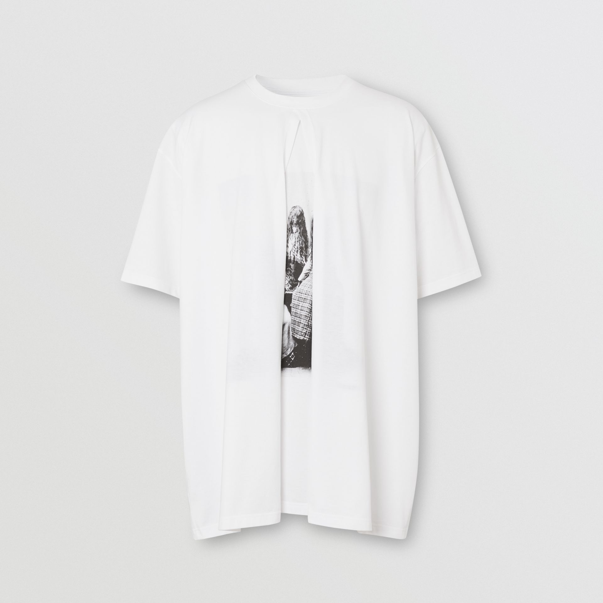 Victorian Portrait Print Cotton Oversized T-shirt in Optic White | Burberry - gallery image 3