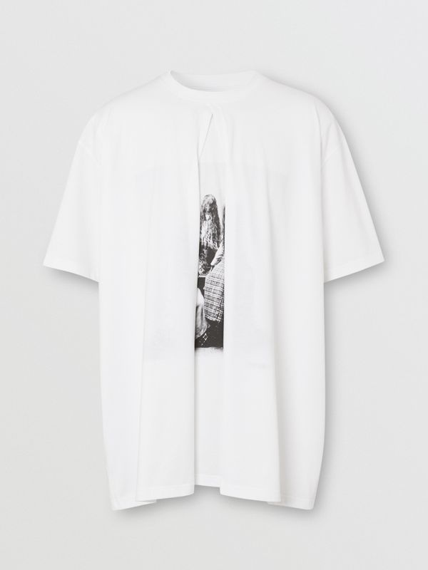 Victorian Portrait Print Cotton Oversized T-shirt in Optic White | Burberry - cell image 3