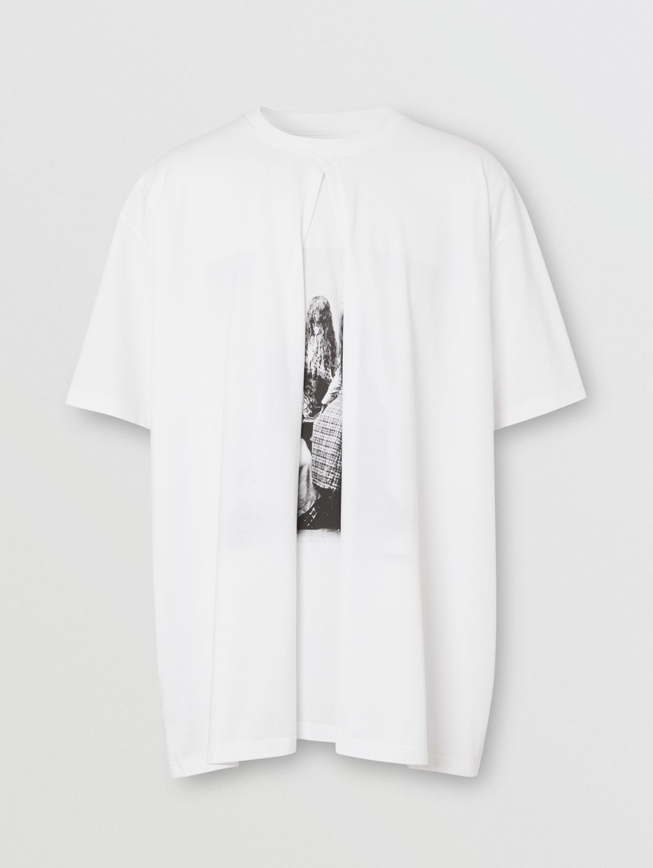 Victorian Portrait Print Cotton Oversized T-shirt (Optic White)