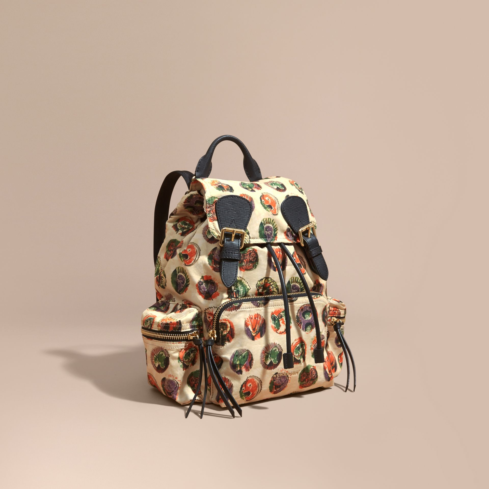 The Medium Rucksack in Technical Nylon with Pallas Heads Print - gallery image 1