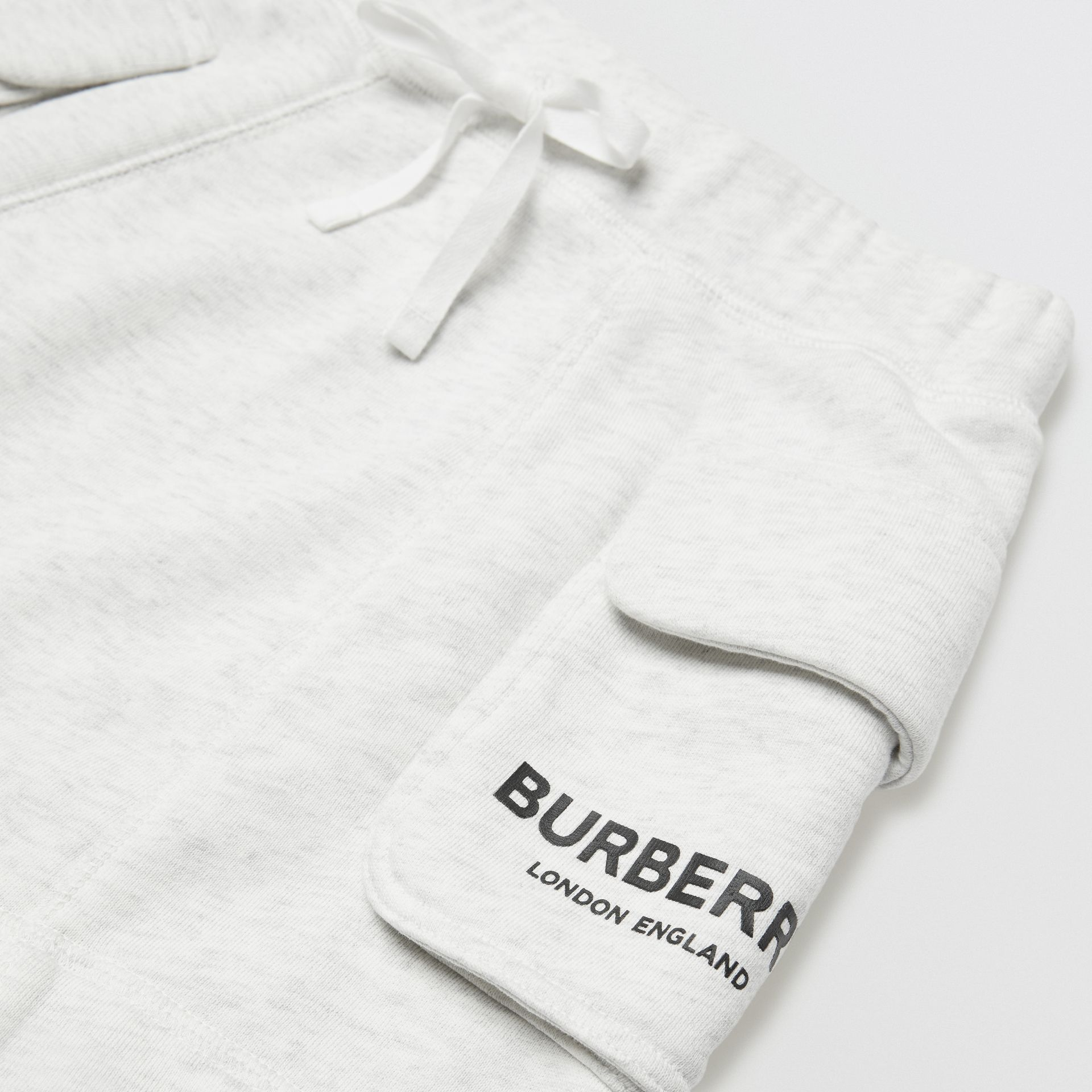 Logo Print Cotton Drawcord Shorts in White Melange | Burberry - gallery image 1