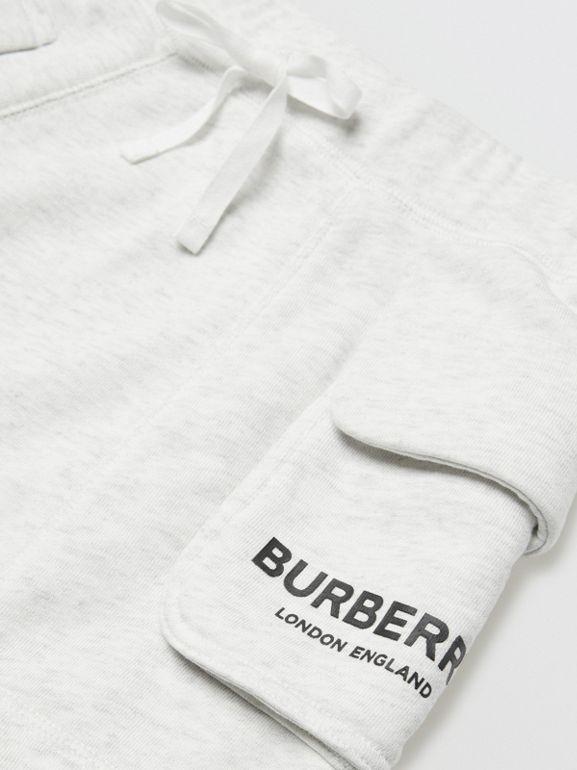 Logo Print Cotton Drawcord Shorts in White Melange | Burberry - cell image 1
