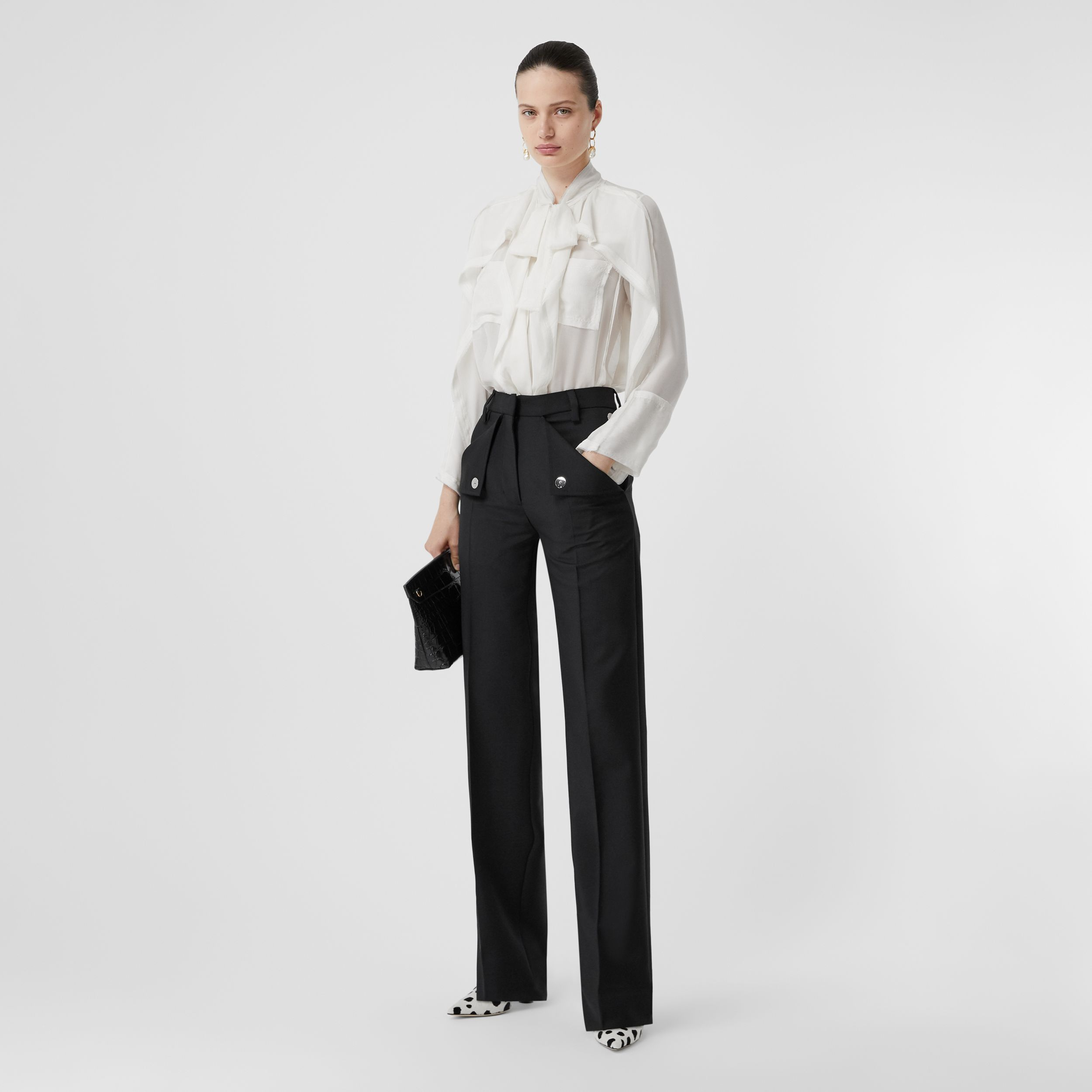 Pocket Detail Wool Mohair Tailored Trousers in Black - Women | Burberry - 1