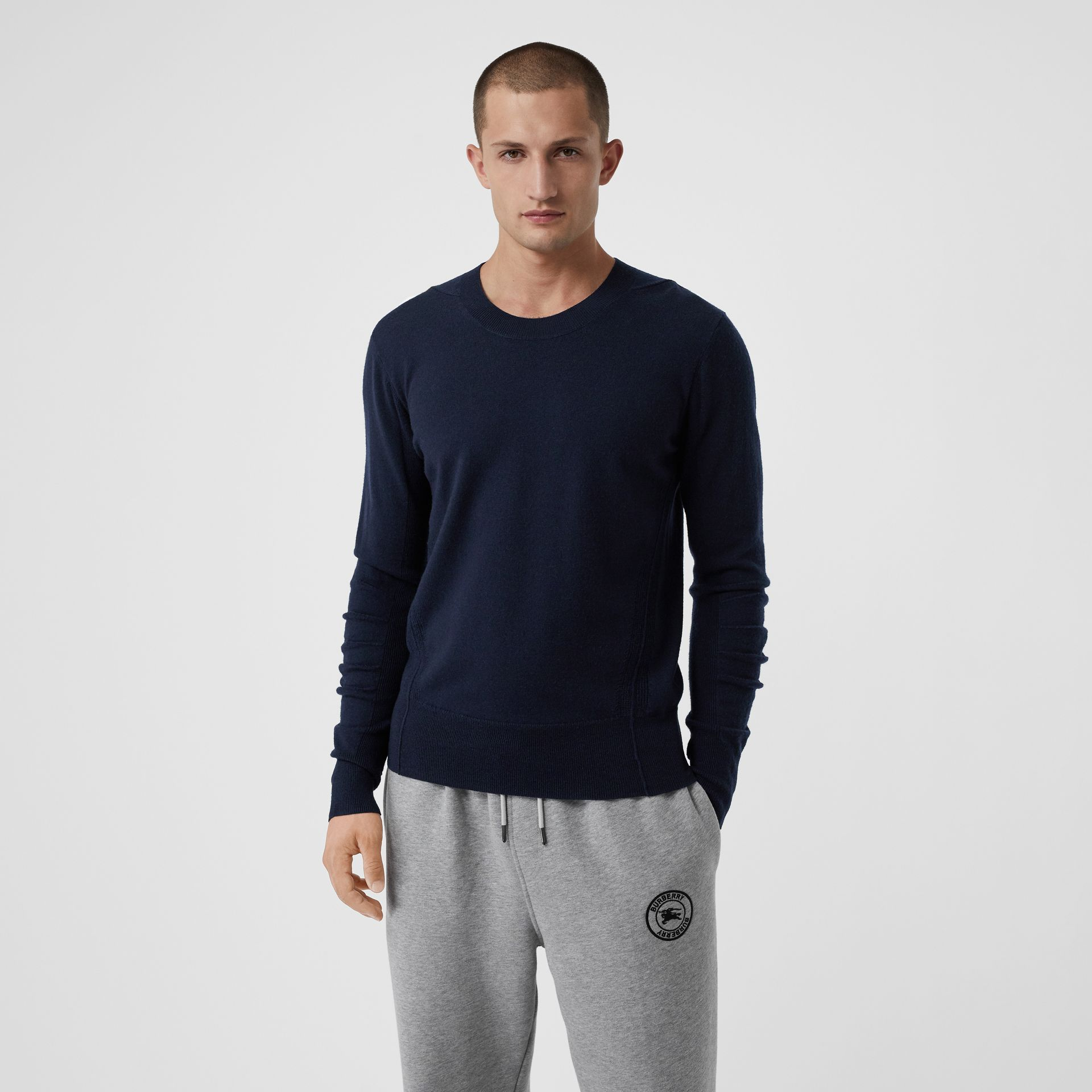 Check Detail Merino Wool Sweater in Navy - Men | Burberry Canada - gallery image 0