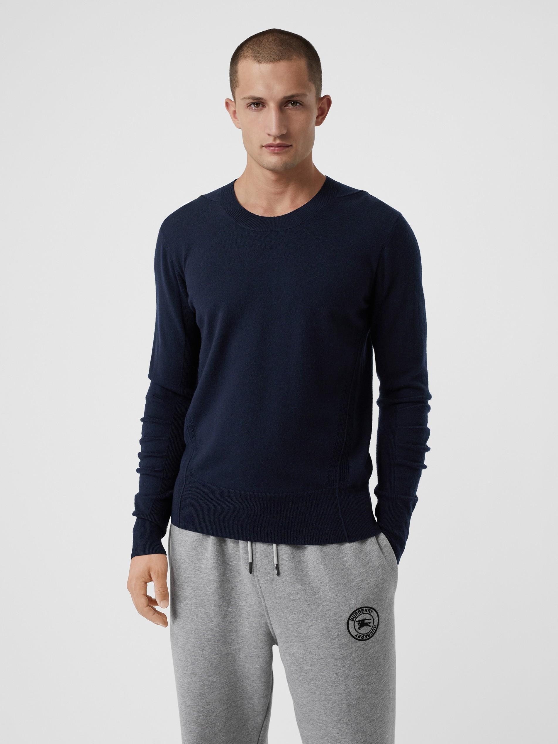 针织提花面料图片_格纹装饰美利奴羊毛衫 (海军蓝) - 男士 | Burberry 博柏利