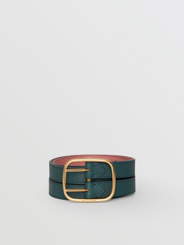 Double-strap Leather Belt in Dark Cyan/dusty Rose - Women | Burberry Australia - cell image 2