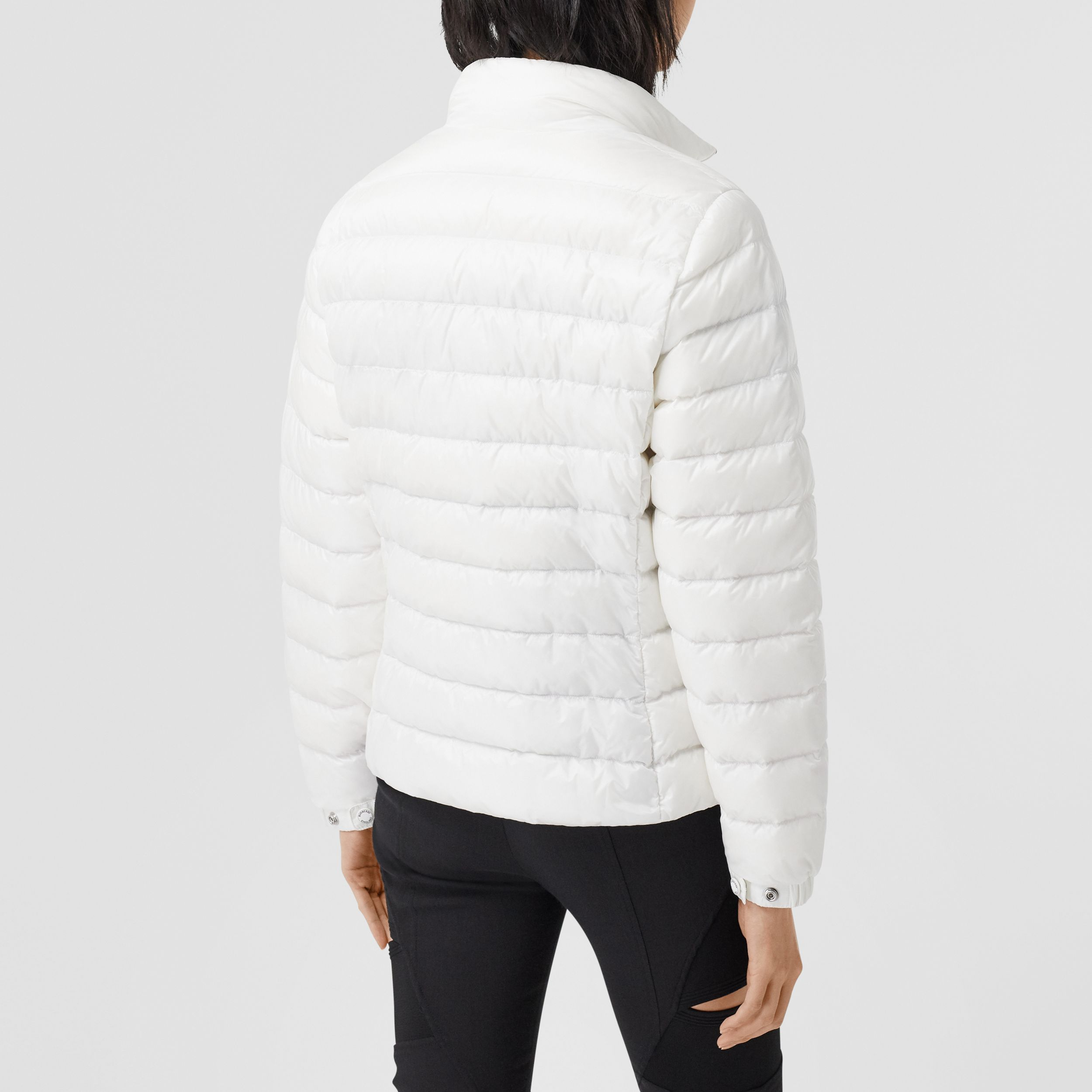 Logo Print Lightweight Puffer Jacket in White - Women | Burberry - 3