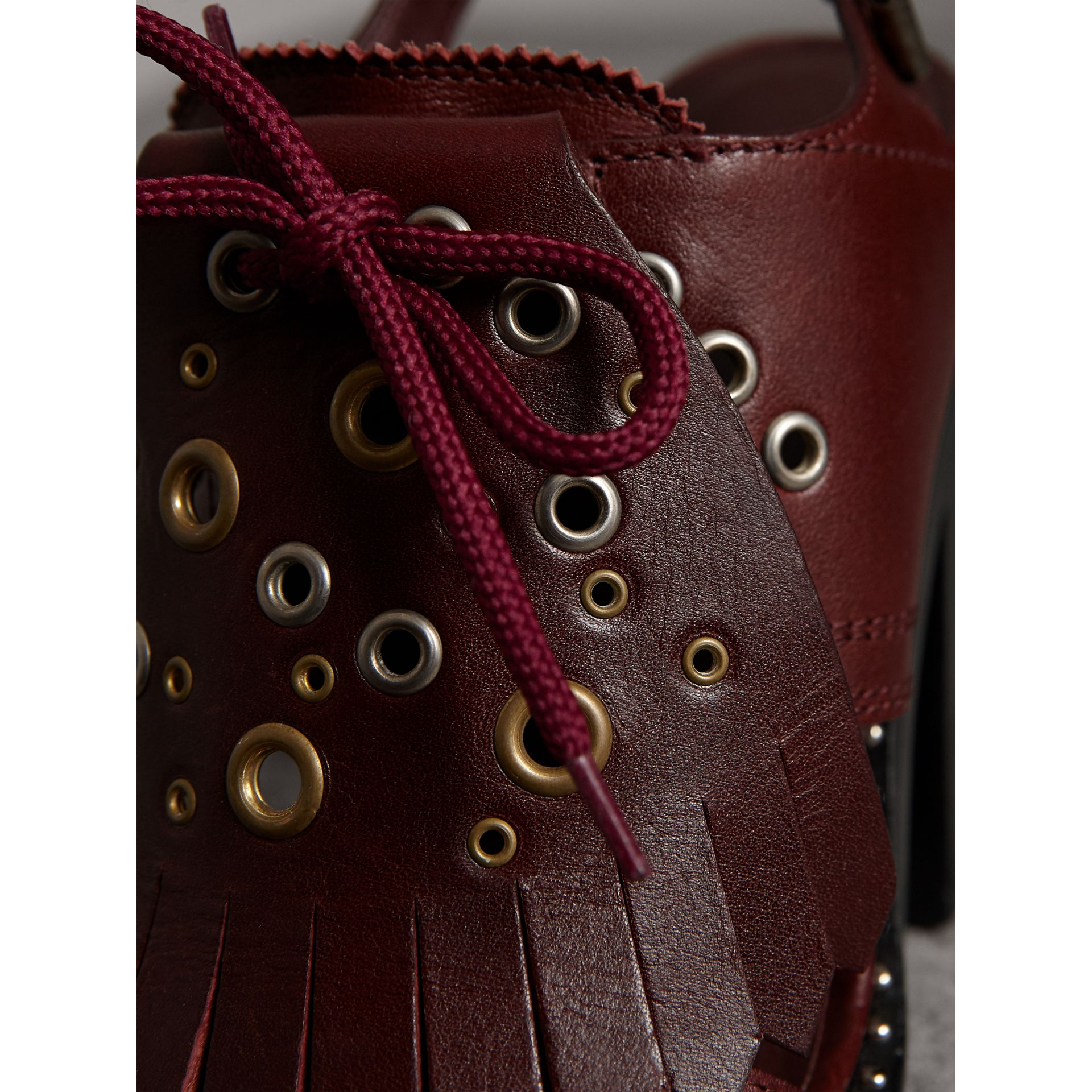 Kiltie Fringe Leather Heeled Sandals in Cerise Purple - Women | Burberry Australia - gallery image 1