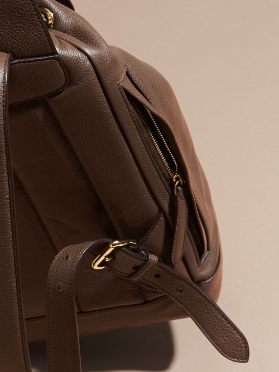 Deep taupe brown Grainy Leather Backpack Deep Taupe Brown - cell image 3