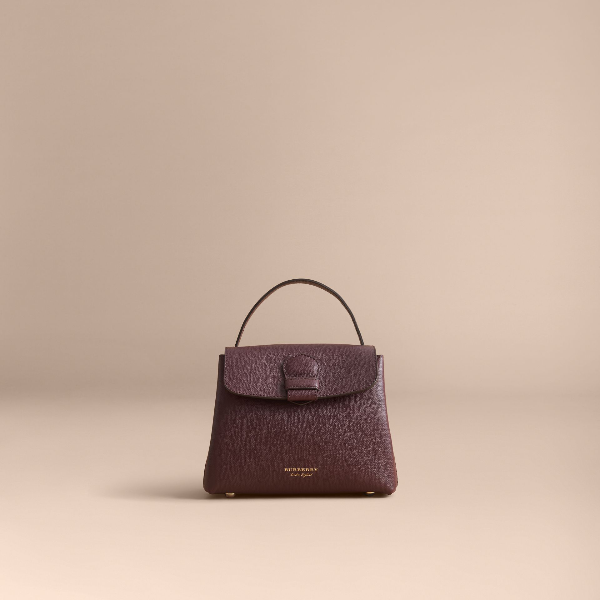 Small Grainy Leather and House Check Tote Bag in Mahogany Red - Women | Burberry - gallery image 8