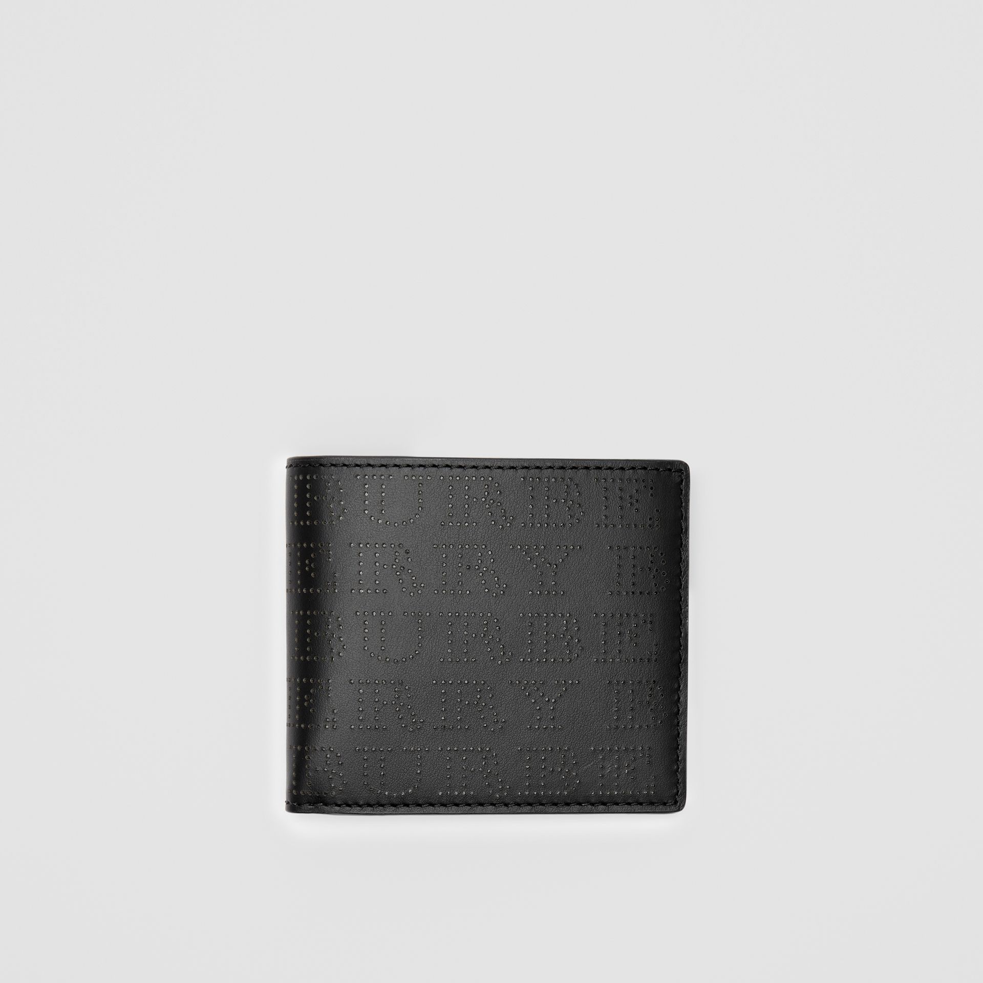Perforated Logo Leather International Bifold Wallet in Black - Men | Burberry United States - gallery image 2