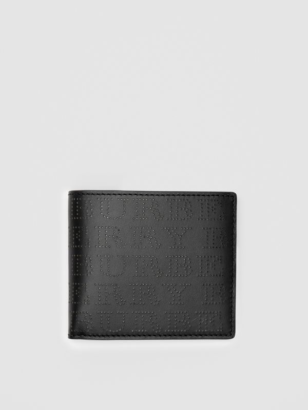 Perforated Logo Leather International Bifold Wallet in Black - Men | Burberry - cell image 2