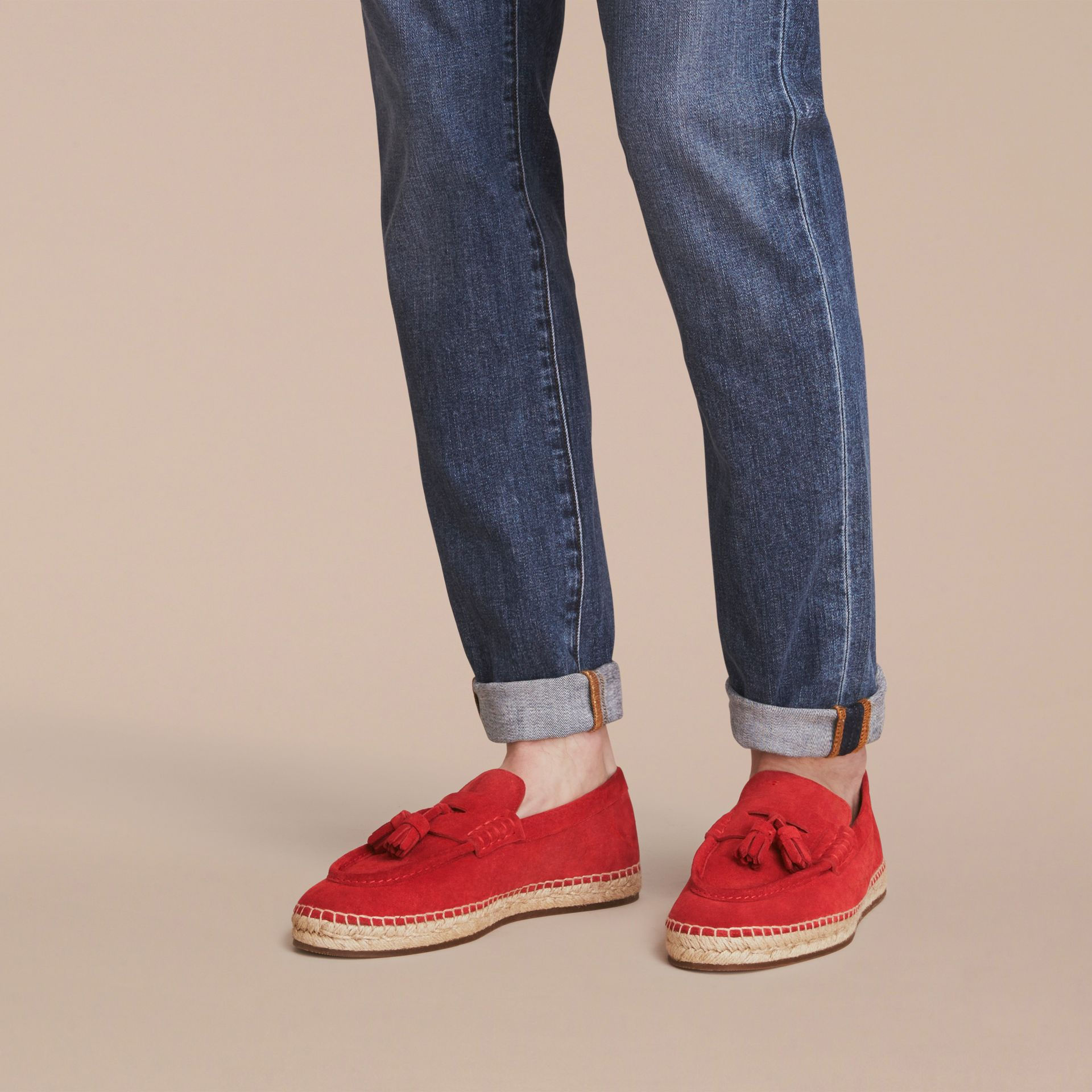 Tasselled Suede Espadrille Loafers in Bright Rowanberry - gallery image 3