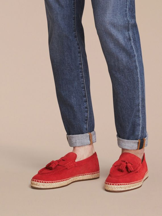 Tasselled Suede Espadrille Loafers in Bright Rowanberry - cell image 2