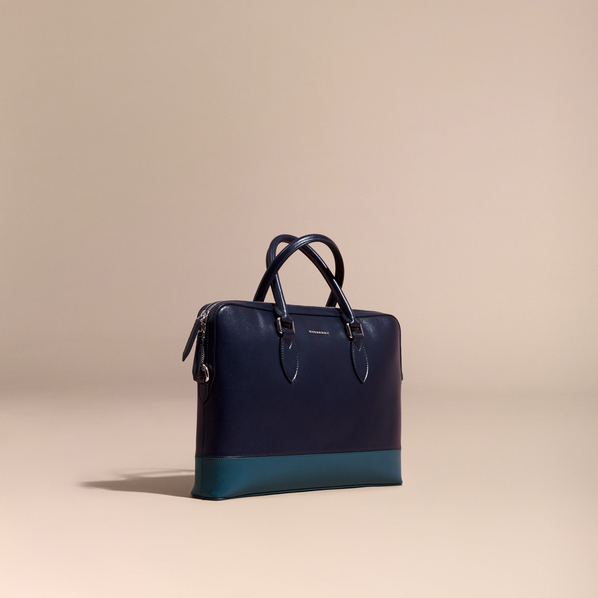 Dark navy/mineral blue The Slim Barrow in Panelled London Leather Dark Navy/mineral Blue - gallery image 1