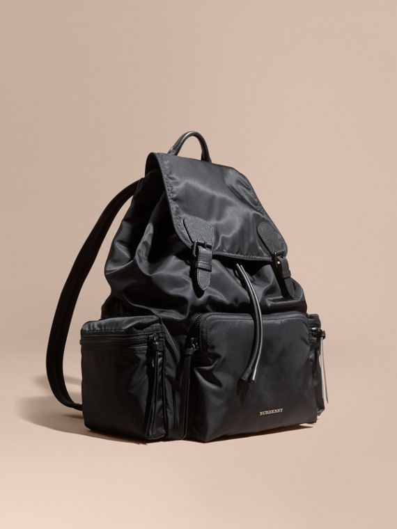 The Extra Large Rucksack in Technical Nylon and Leather Black