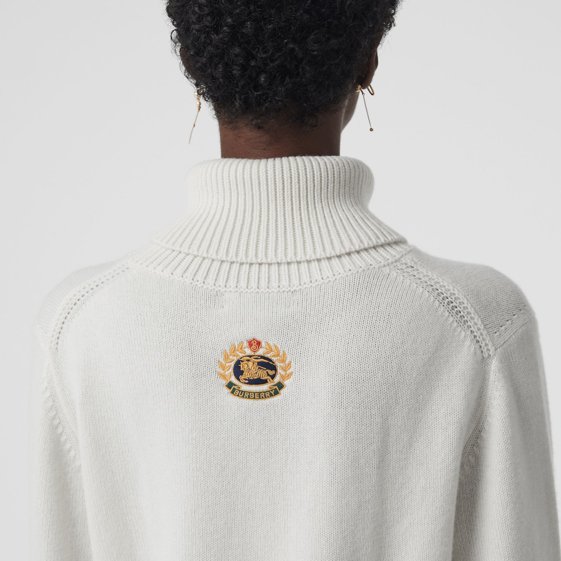 Embroidered Crest Cashmere Roll-neck Sweater in White - Women | Burberry - gallery image 1