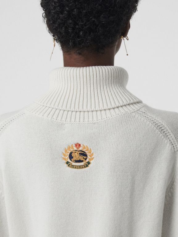 Embroidered Crest Cashmere Roll-neck Sweater in White - Women | Burberry Australia - cell image 1