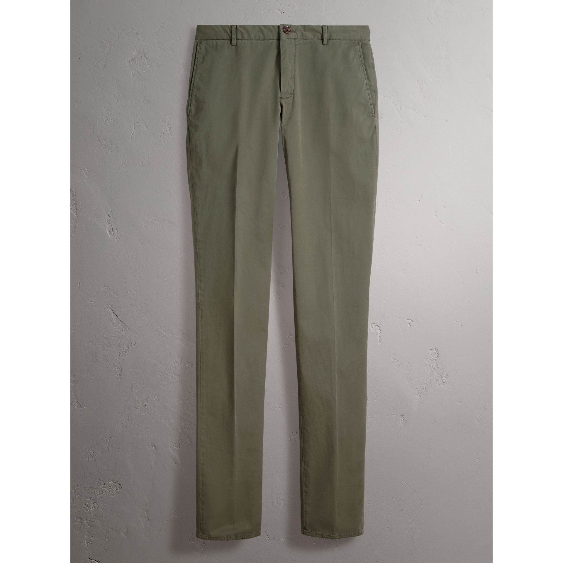 Slim Fit Stretch Cotton Chinos in Slate Green - Men | Burberry Canada - gallery image 4