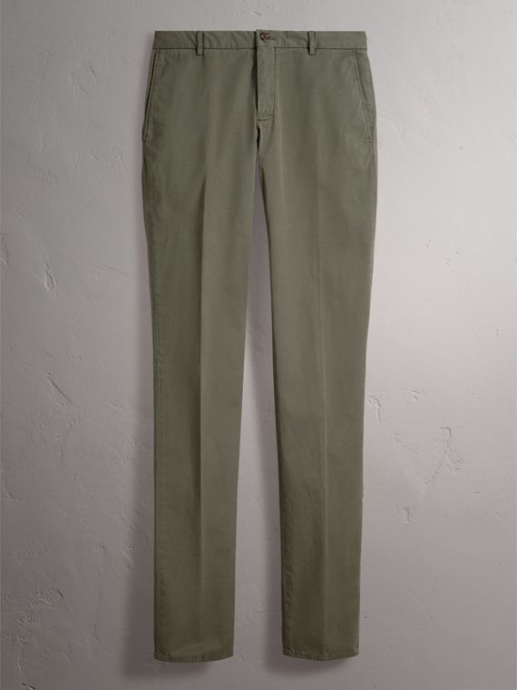 Slim Fit Stretch Cotton Chinos in Slate Green - Men | Burberry Canada - cell image 3