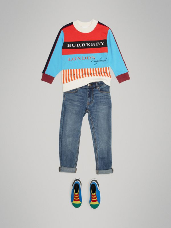 Logo Print Panelled Cotton Sweatshirt in Bright Red - Boy | Burberry - cell image 2