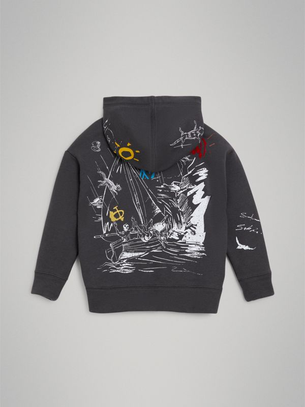 Adventure Print Zip-up Hoodie in Charcoal - Boy | Burberry - cell image 3