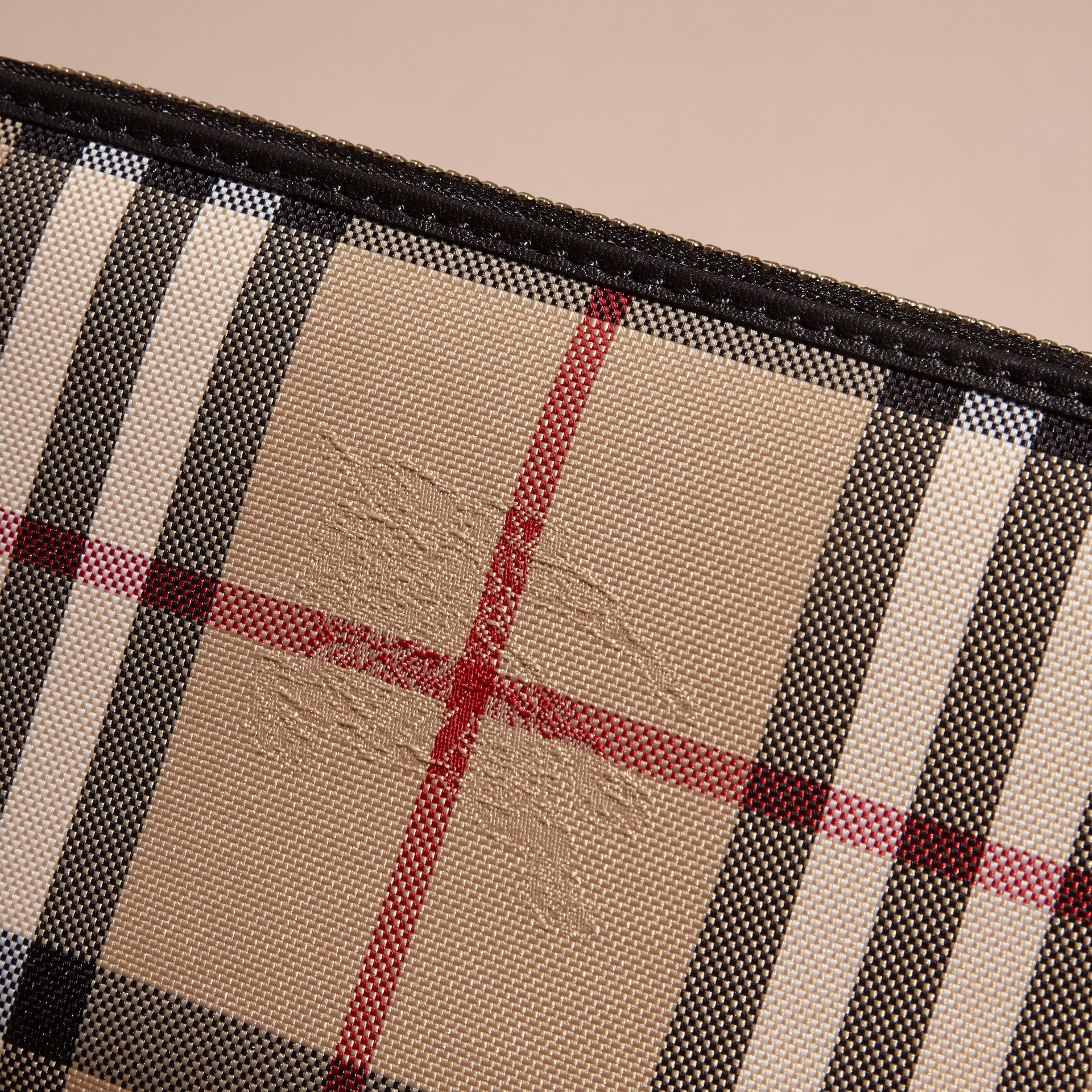 Horseferry Check and Leather Ziparound Wallet in Black - Women | Burberry Hong Kong - gallery image 2