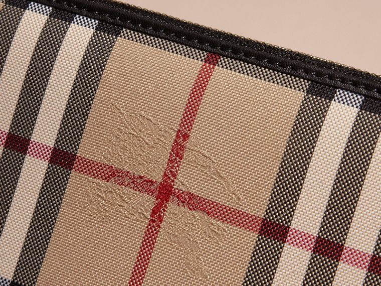 Horseferry Check and Leather Ziparound Wallet in Black - Women | Burberry Hong Kong - cell image 1