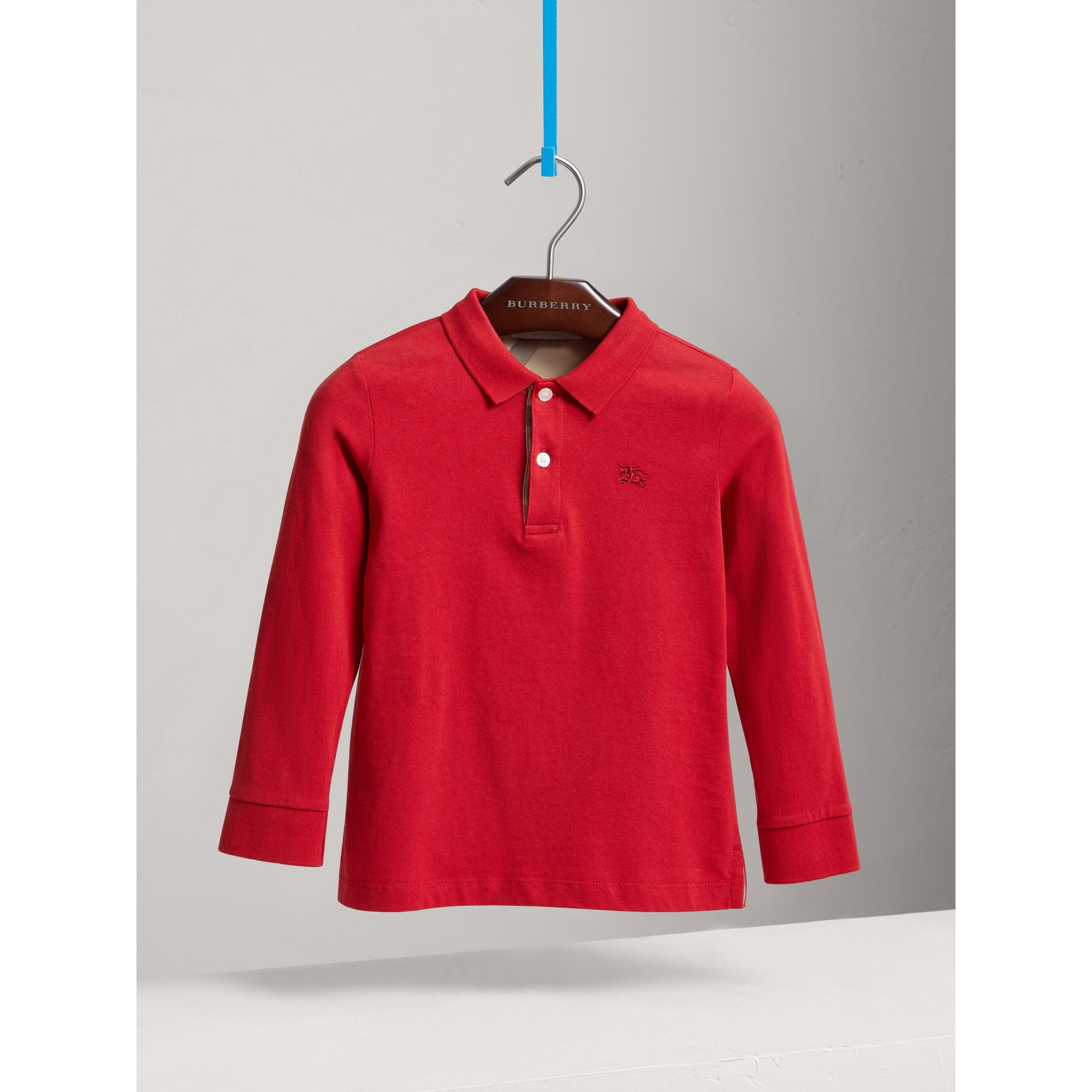 Long-sleeve Cotton Jersey Polo Shirt in Military Red - Boy | Burberry United Kingdom - gallery image 0