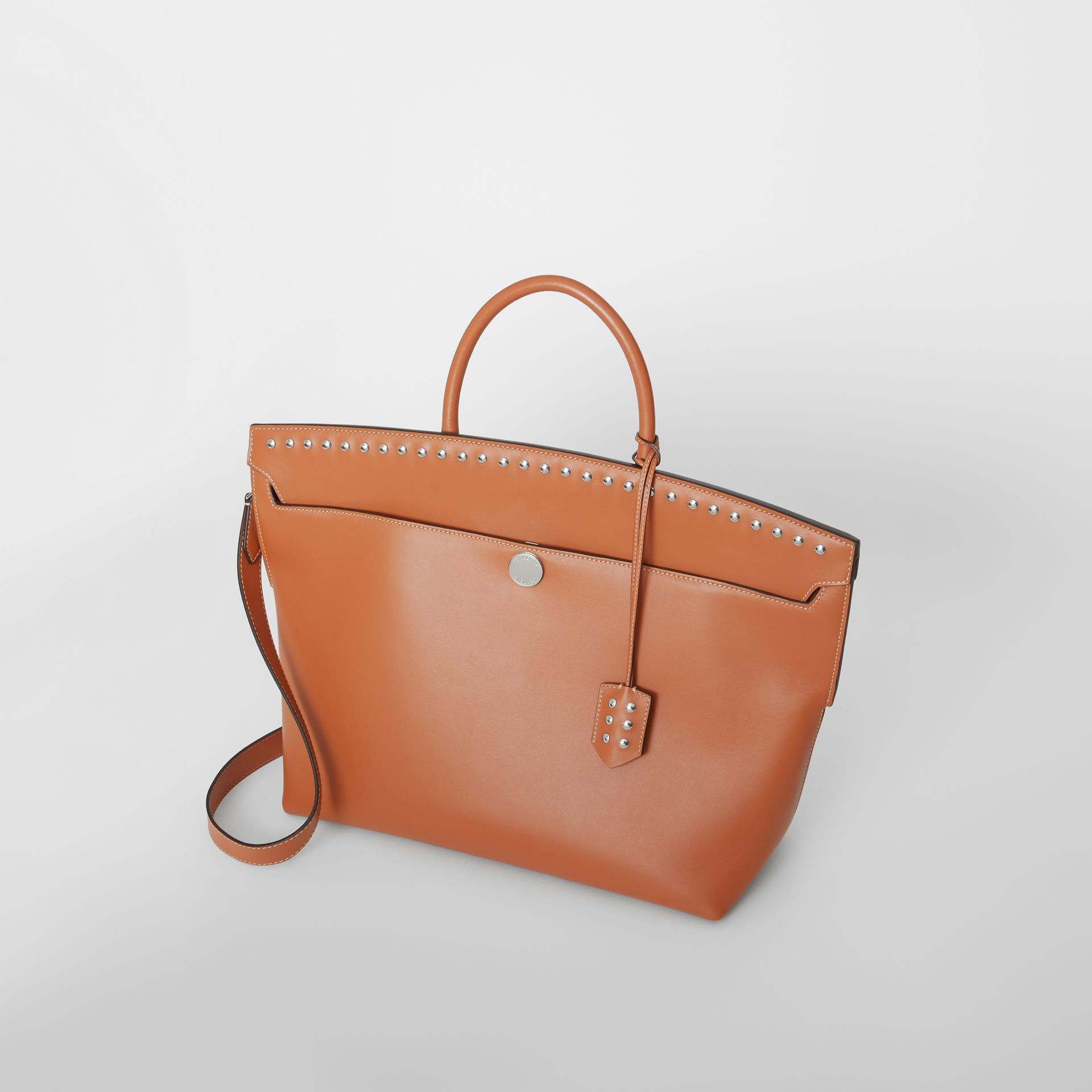 Studded Leather Society Top Handle Bag in Copper Brown - Women | Burberry United Kingdom - gallery image 3