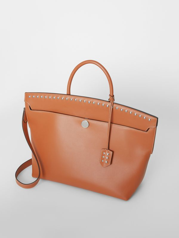 Studded Leather Society Top Handle Bag in Copper Brown - Women | Burberry - cell image 3
